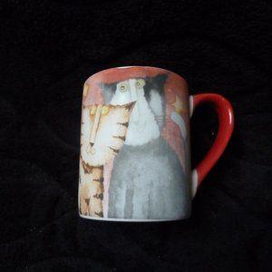debi hron rare red cats mug - $20